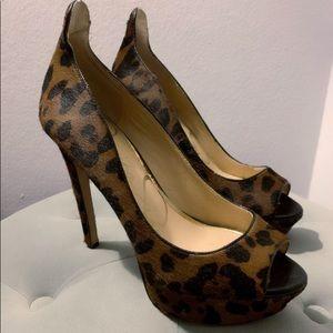 Jessica Simpson Leopard Peep Toe Heels- Fur
